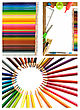 colorful pencils and office supplies collage stock photography