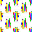 Colorful Pencils Isolated On White Background. Colored Pencils Seamles Pattern stock illustration