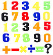 Colorful Plastic Numbers Isolated On White Background stock photo
