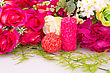 Colorful Roses And Candles Valentine Image stock photography