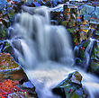Colorful Scenic River Waterfall In HDR And Slow Shutter stock photography