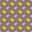 Colorful Speech Bubbles Seamless Pattern On Brown Background