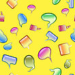Colorful Speech Bubbles Seamless Pattern On Yellow Background