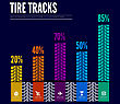 Colorful Tire Tracks Infographics Background. Vector Illustration