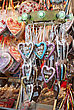 Colorful Traditional Gingerbread Hearts At Christmas Market In Germany stock photography