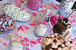 Colorful Wedding Candy Table With All The Chocolate Goodies On Display stock photo