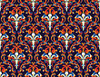 Colourfull Seamless Damask Ornate Pattern stock illustration