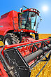 Combine Harvester On A Wheat Field With A Blue Sky stock image