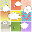 Comics Book Background. Colorful Halftone Patterns. Set Of Cartoon Speech Bubbles. Collection Dotted Background