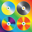 Compact Discs Set With Optical Spectrum Diffraction Effect. Vector Illustration.
