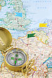 Compass And Flags On The Map Of Europe stock photography