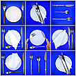 Composition Of Forks, Knifes, Spoons ,plates, On Blue Background stock photography