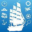 Composition With Sailing Symbols Over Blue Background