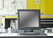Computer LCD & Keyboard On Office Desk stock image