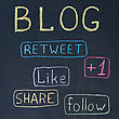 Concept Of Blog With Share Buttons, Chalk Drawing stock photography