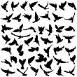 Concept Of Love Or Peace. Set Silhouettes Doves. Vector Illustration