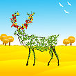 Conceptual Autumn Illustration With A Stylized Deer With Leaves And Vegetables Between Horns stock illustration