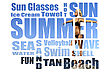 Conceptual Collage Of Summer Words Over Picture. Isolated On White