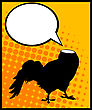 Conceptual Comic Style Graphic Of A Headless Rooster And Speech Bubble