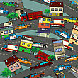 Conceptual Illustration Of A Busy City With Streets, Cars And Houses. Cartoon Style Drawing