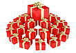 Cone Shaped Heap Of Red Gift Boxes With Presents