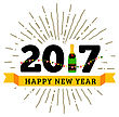Congratulations To The Happy New 2017 Year With A Bottle Of Champagne, Flags. Vector Flat Illustration With Sunburst