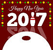 Congratulations To The Happy New 2017 Year With A Bowling And Ball. Vector Flat Illustration
