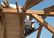 Construction Roofers Hammering stock image