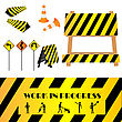 Construction warning signs, design elements