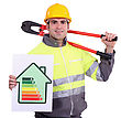 Construction Worker With An Energy Certificate stock photo