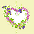Convolvulus Flowers Bouquet And Lace Heart - Design For Wedding Invitation Or Valentines Day Card