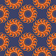 Cooked Red Shrimps Seamless Pattern On Blue Background. Tasty Sea Food