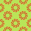 Cooked Red Shrimps Seamless Pattern On Green Background. Exquisite Sea Food