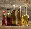 Cooking Oil Assortment On Wooden Background