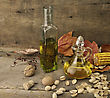 Cooking Oil And Autumn Items On Wooden Background stock image