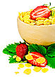 Corn Flakes In A Wooden Bowl With Half A Strawberry, Leaves And Berries Of A Strawberry Isolated On A White Background