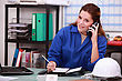 Corporate Woman Answering Phone stock photography