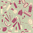 Cosmetics Seamless Pattern.Vintage On Old Texture