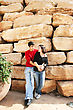 Couple At The Vintage Wall. stock image