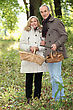 Couple Collecting Wild Mushrooms stock photography