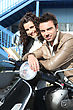 Cycle Couple Commuting stock image