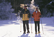 Couple Cross-Country Skiing stock photography