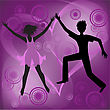 Couple Dancing On An Abstract Purple Background stock illustration