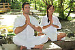 Exercise Couple Doing Relaxation Exercises stock photo