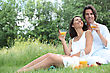 35to40 Couple Enjoying A Picnic stock photography