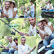 Girlfriend Couple Fishing Together stock photography