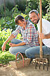 Patch Couple Gardening stock photography