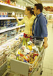 Couple Grocery Shopping stock photo
