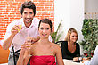 3people Couple Holding Champagne Flutes In Restaurant stock photography