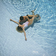 Couple in Pool stock image